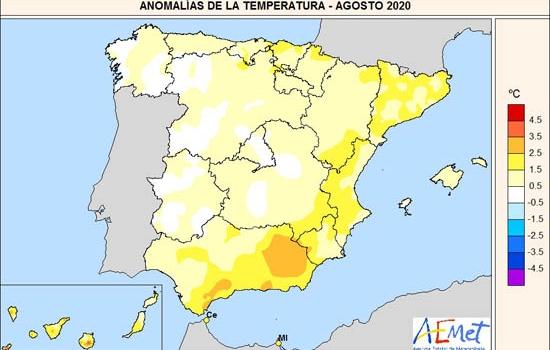 El mes de agosto termina como el noveno más cálido en España en el siglo XXI